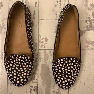 J.Crew Cora leopard calf hair loafers , sz 7.5